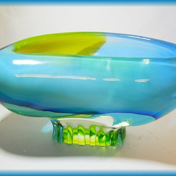 CENEDESE  ( Murano ) Art Glass Bowl with LABEL -  About 16 Pounds !!!!! - Art Glass