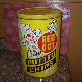red dot potato chip tin  - Advertising