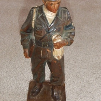 WW2 Occupation Carved MP Soldier - Military and Wartime