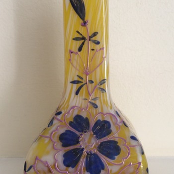 Welz yellow/white spatter enamel bud vase pink/blue - Art Glass