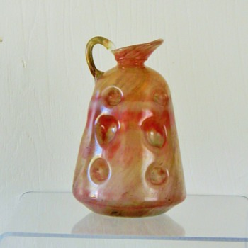 Ugliest Vintage Handblown Iridescent Carafe Pitcher Ewer HELP - Art Glass