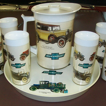 1970's Chevrolet dealer tray,glasses,and pitcher - Classic Cars