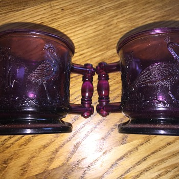 Lovely purple bird cups - Glassware