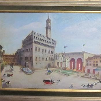 A painting of old street scene castle  - Fine Art