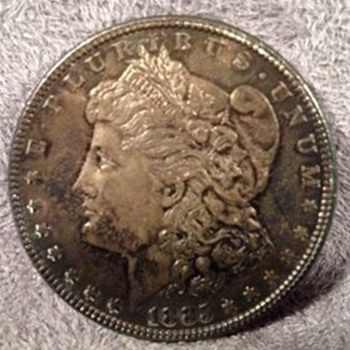 1885 MORGAN SILVER DOLLAR (PHILLY) FOUND IN VERY OLD LUGGAGE / TRUNK - US Coins