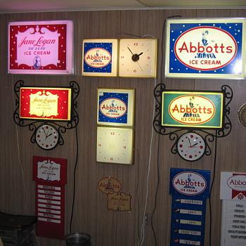 Abbotts Dairy , Abbott's Dairy & Jane Logan Clocks , Menu boards & Decals. Philadelphia. - Advertising