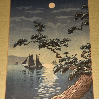Japanese Woodblock -  1936 Tsuchiya K?itsu print with the title Maiko no Hama (the Seashore at Maiko) - Asian