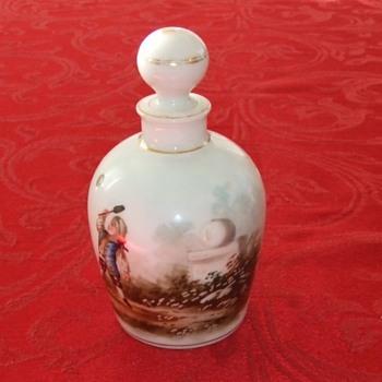 Perfume with handpainted 18th century tennis scene
