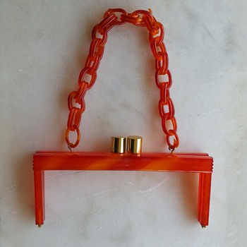 60's-70's orange plastic purse frame/handle - Bags