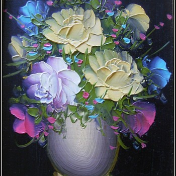 Pair of Art Pictures / Painting -- Flowers - Fine Art