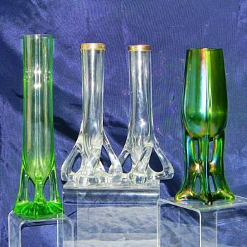 Bohemian Twisted Feet Sterling Rim Vases - Art Glass