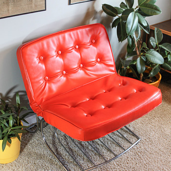 Cantilevered Chrome and Tufted Orange Vinyl Lounge - Furniture