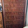 Antique tiger mahogany concave draw front 8  dresser