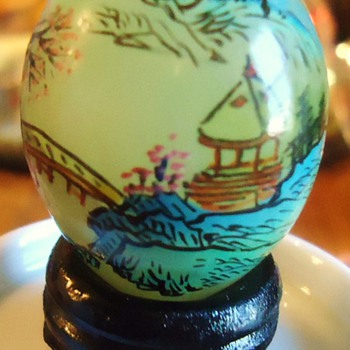 Itsy Bitsy Teenie Weenie, Japanese Jade? Egg, hand painted on wood base!!  CUTE!! - Asian