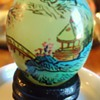 Itsy Bitsy Teenie Weenie, Japanese Jade? Egg, hand painted on wood base!!  CUTE!!