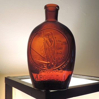 1970 Apollo 11 Pennsgrove High School Graduates Flask Bottle Anchor Hocking Brown Amber Embossed Salem New Jersey - Bottles