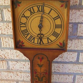 "Pennsylvania Dutch Folk Art 30"" Tall Solid Wood Wall Clock / Signed - Clocks"