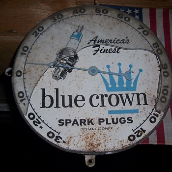 vintage blue crown spark plug thermometer - Advertising
