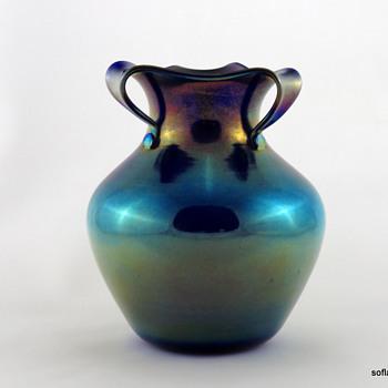 Imperial FH 196 Split Top Vase in Mirror Blue Luster ca. 1923-24 - Art Glass