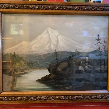 Antique Oil Painting Mt Rainier in Oak Frame - Fine Art
