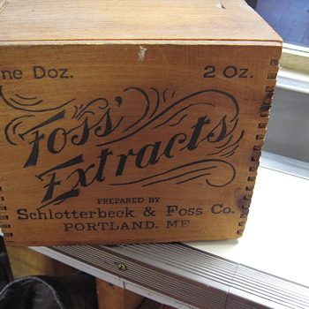 Antique Foss Vanilla Extract Advertising Wood Box - Advertising