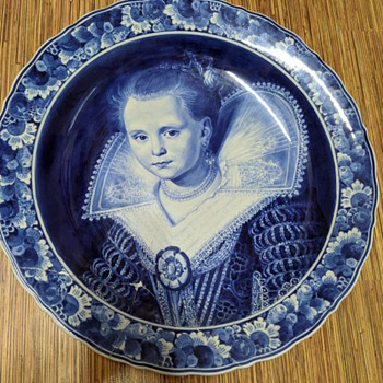 Delft Plate with Girl - Pottery