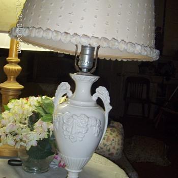 Vintage porcelain lamp with polka dot shade  24x13