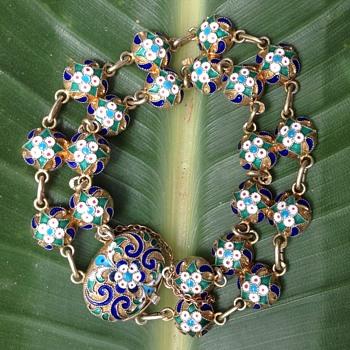 Russian Silver Gilt Cloisonne Bracelet - Art Nouveau
