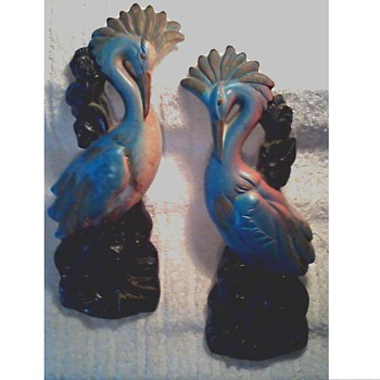"A Pair of 13"" Chalk Ware ""Blue Heron"" Wall Plaques /Miller Studio Inc. Circa 1969 - Mid-Century Modern"