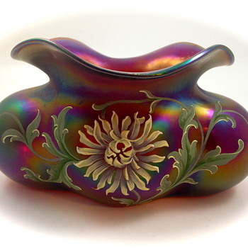 "Harrach lobed bowl with enameled decoration - the ""Tomato"" vase! UPDATE - Art Glass"
