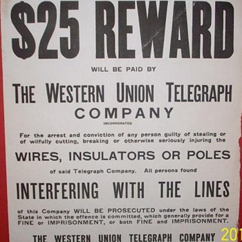 Western Union Telegraph Warning Poster - Telephones