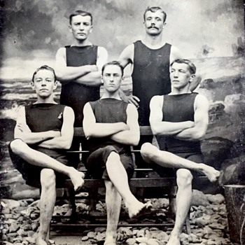 Late 1800's tin type of a men's swim team  - Photographs