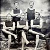 Late 1800's tin type of a men's swim team