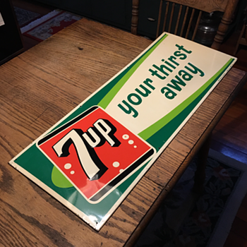 7up Embossed Tin Sign  - Advertising