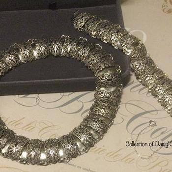 Filigreed Choker Necklace, Bracelet — Decade Unknown  - Costume Jewelry