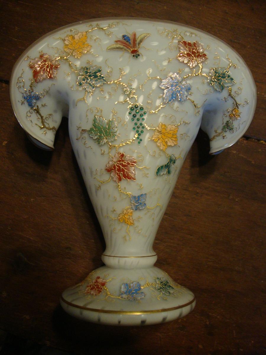 Satin Glass Enamel Fan vase    Harrach or Moser | Collectors