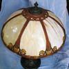 H.E. Rainaud Cold Painted Metal & Slag Glass Lamp