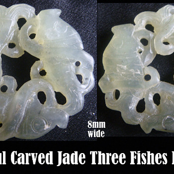 Jade - Three Carp Fish Pendent  - Asian