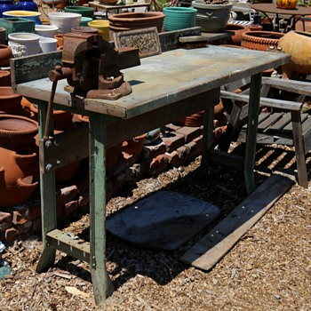 Workbench with a Zinc Top and Cast Iron Legs - Furniture