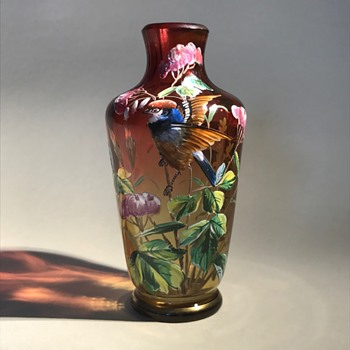 Harrach enameled bird vase - Art Glass
