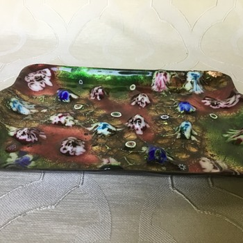 What is this? Small tray, millefiori glass over metal? - Art Glass