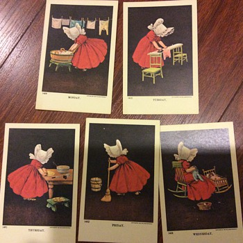 Sunbonnet sue days of the week 1907 - Postcards