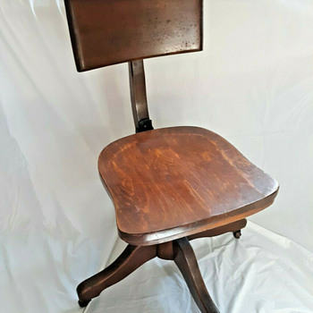 Early 1900's to 1925 Era Office Chair Wooden Adjustable Solid  - Furniture