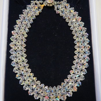 Vintage Crystal Bead Choker Necklace - Costume Jewelry