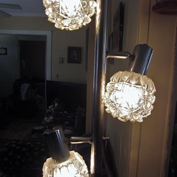 Grandma's vintage chrome glass/crystal pole tension lamp - Lamps