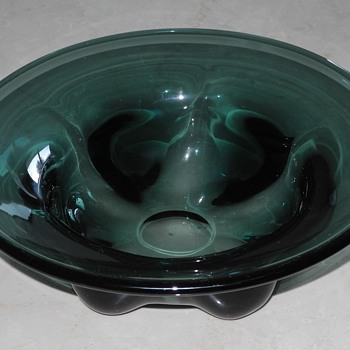 Scandinavian 1950s? smoky grey/green glass bowl. - Glassware