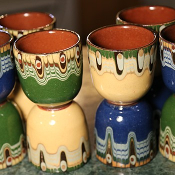 12 Pottery Cups - Polish? - Pottery