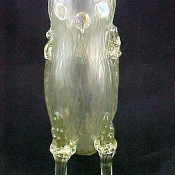 Antique Bohemian Green Iridescent Art Glass Owl Figurine Vase - Art Glass