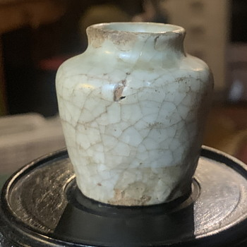 Very Tiny Jarlet - Crackle Celadon Glaze on a pinkish base  - Asian