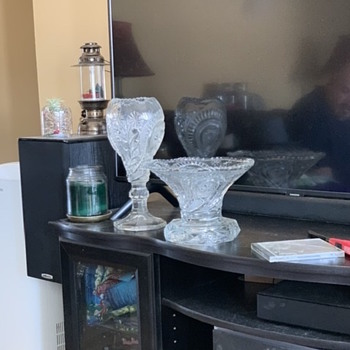 """12"""" heavy, pressed glass Chalice vase with clear pedestal base from great grandfather  - Glassware"""